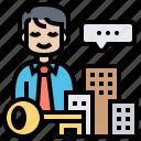businessman, company, entrepreneurs, key, ownership icon