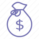 business, currentcy, money, money bag, office, outline icon