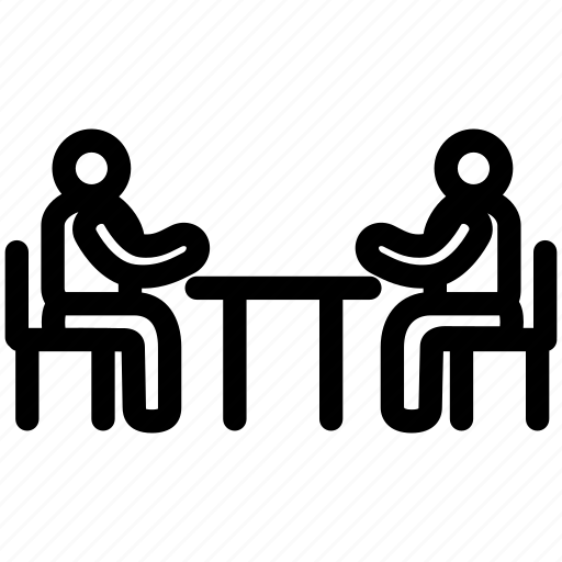 meeting, people, sitting, table, talking icon