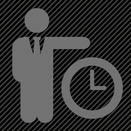 businessman, clock, punctuality, suit, tie, time icon