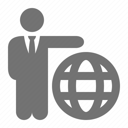 businessman, global, globe, suit, tie icon