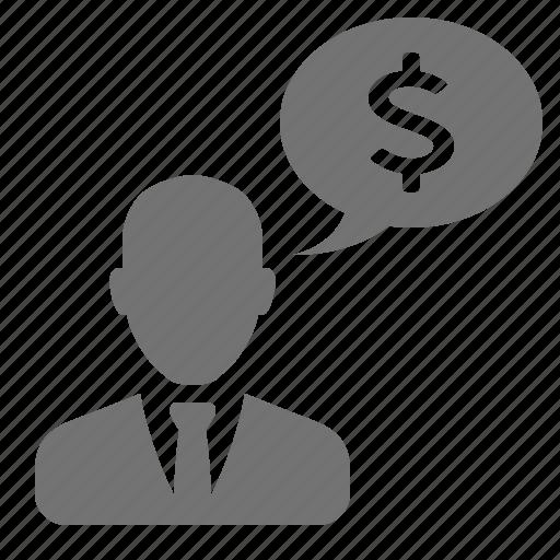 bubble, businessman, dollar, male, money, speech, suit, talk, tie icon