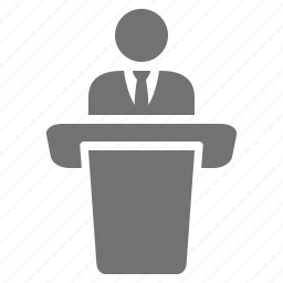 businessman, conference, lecture, podium, public, seminar, speech, suit, tie icon