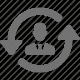 arrows, businessman, circular, refresh, suit, switch, tie, user icon