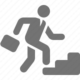 ascend, briefcase, businessman, climb, stairs, work icon