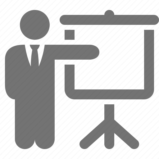 businessmen, pointing, presentation, projection, screen, suit, tie icon