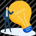 bulb, business, development, idea, innovation, people, startup icon