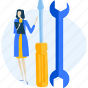 janitor, maintenance, people, service, setting, support, tool icon