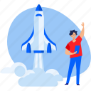development, launch, mobile, people, rocket, smartphone, startup icon