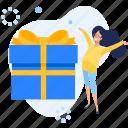 donate, gift, gift box, people, present, reward, surprise