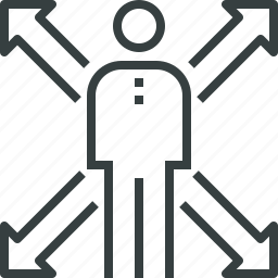 arrows, business, career, choose, opportunity, person, ways icon