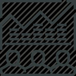 arrow, business, chart, efforts, graph, success, team icon
