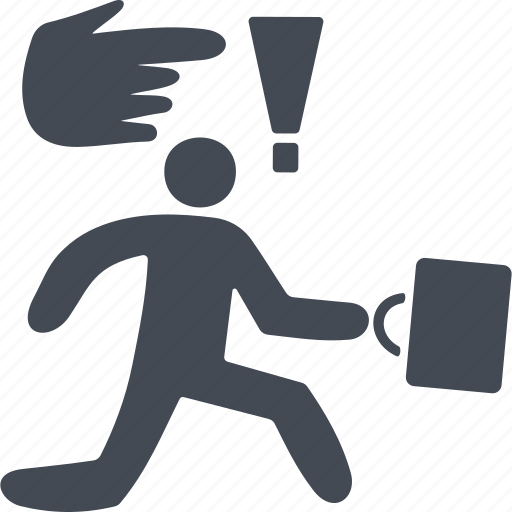business people conflict, fleeing man, human, man with a briefcase icon