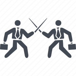 business people conflict, conflict, fighting with swords, showdown icon