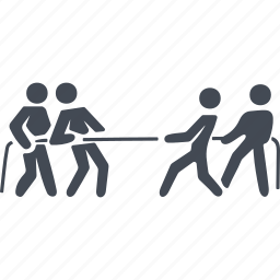 business people conflict, separation, showdown, tug of war icon