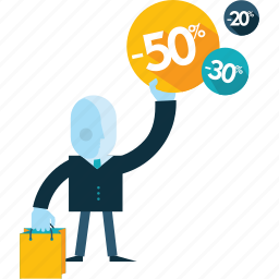 business people, e-commerce, flat design, offers, sale, shopping, special icon
