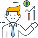 broker, analyst, chart, graph, growth, investment, manager icon