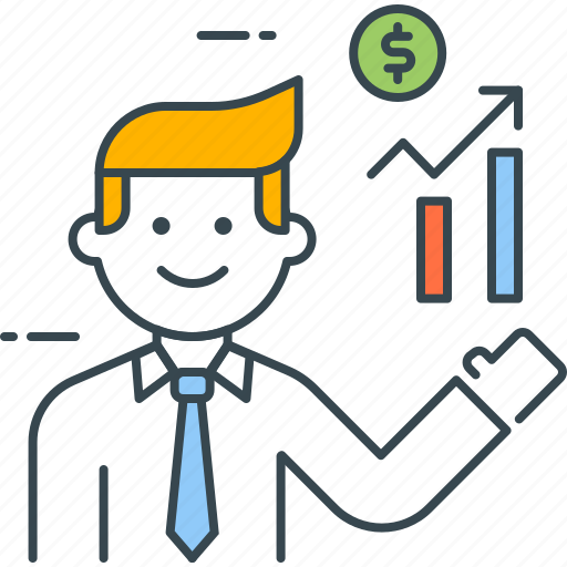 analyst, broker, chart, graph, growth, investment, manager icon