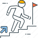 achievement, business, direction, stairs, success, top, up icon