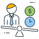 value, budget, business, manpower, money, resources, time icon