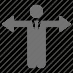 arrow, businessman, choice, decision, direction, hands icon