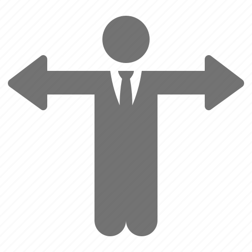 arrow, businessman, choice, decision, direction, hands icon