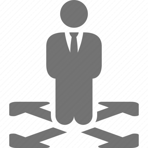 arrows, businessman, choice, decision, directions, possibility, ways icon