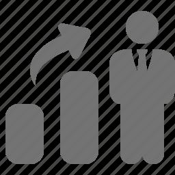 arrow, businessman, chart, collumn, graph, growth icon