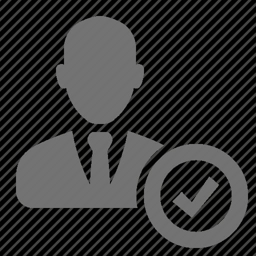 approve, avatar, businessman, check, profile, user, verify icon