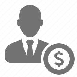 avatar, businessman, coin, dollar, money, user icon
