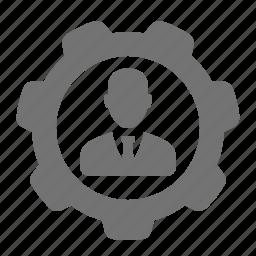 avatar, businessman, cog, gear, options, system, user icon