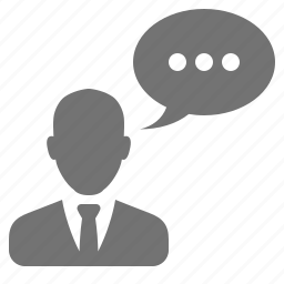 avatar, bubble, businessman, speech, talk, user icon
