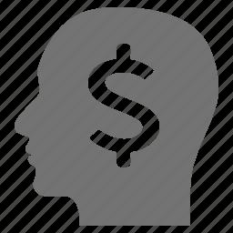 businessman, dollar, head, idea, mind, money icon