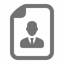 avatar, businessman, cv, file, job, profile, resume icon