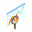 bar, business, chart, data, glass, isometric, magnifying icon