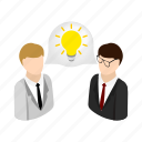 bright, businessman, get, idea, isometric, lamp, success icon