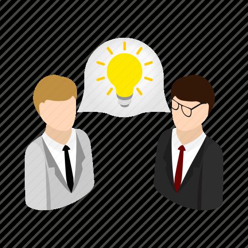 bright, businessman, get, idea, isometric, lamp, success icon