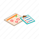 check, checklist, clipboard, isometric, list, planner, success icon