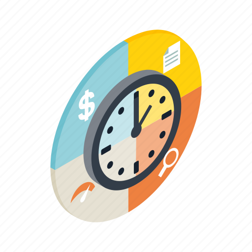 diagram, isometric, management, number, time, web, work icon