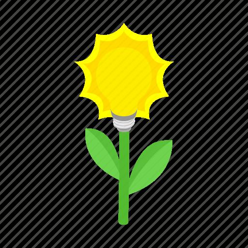bulb, idea, isometric, lamp, leaf, natural, plant icon