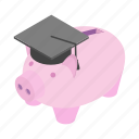 cap, graduation, isometric, money, pig, saver, smart icon