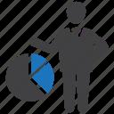 market, pie chart, share icon