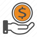 bill, business, capital, cash, dollar, hand, money icon