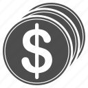 coins, currency, dollar coin, finance, financial, funding, money icon