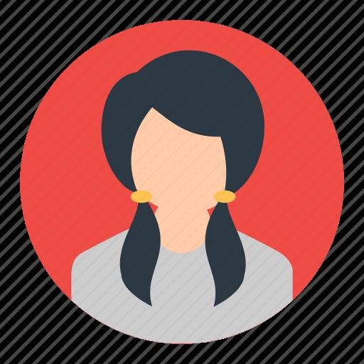 account, avatar, female, person, profile, student, user icon