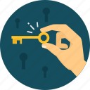 key, lock, password, protection, secure, security, success icon