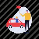 driving, signal, flag, transport, location