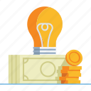 bulb, creative, idea, imagination, innovation, lightbulb, money icon