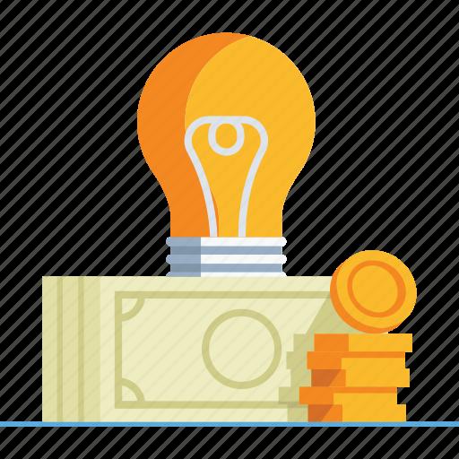 bulb, creative, idea, imagination, innovation, lightbulb, money icon