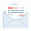 bill, envelope, invoice, mail, order, paid, pay icon